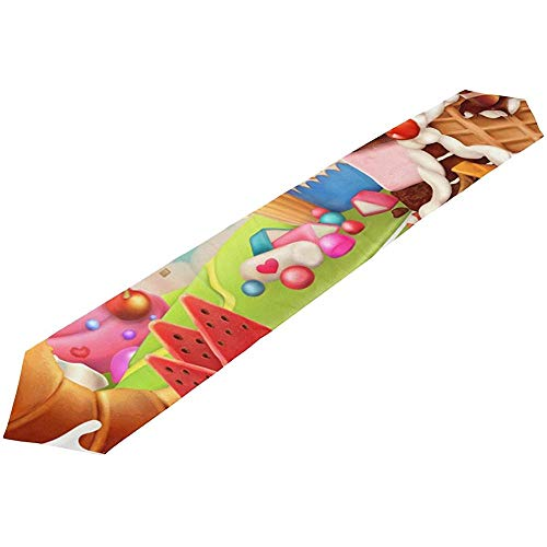 Life Happy Birthday schattige dessert Rainbow Candy chocolade decoratieve tafelloper doek