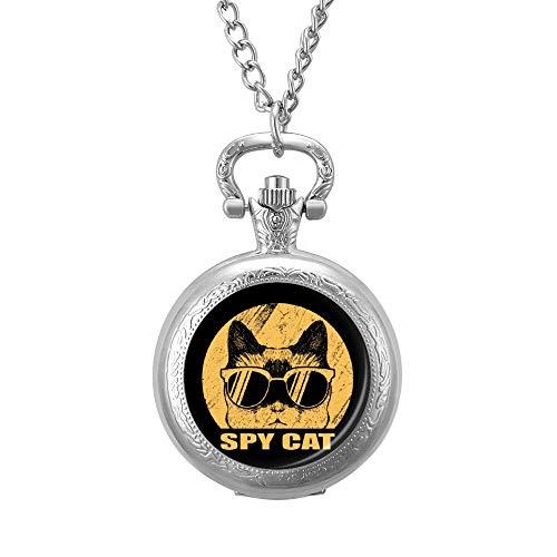 Ninguna marca espía gato animal dibujos animados reloj de bolsillo grabado llavero cuarzo colgante collar con cadena para hombres mujeres plata lm2o5ve8qr0x