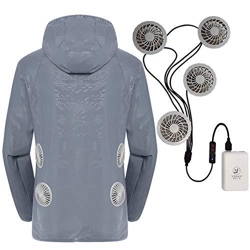YYH Lüfter Jacke, Berufsbekleidung Jacke Klimaanlage Kleidung-Sommer-Mantel Ausgerüstet Lüfter 3 Speed Einstellbar Für Outdoor Hot Temp Arbeits Mitarbeiter,Grau,S