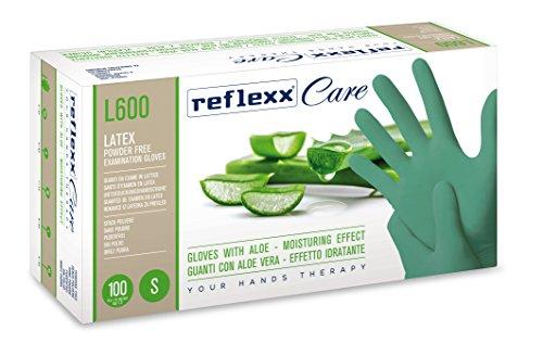 Reflexx L600/M Guanti Monouso in Lattice con Aloe Vera, Verde, 100 Pezzi