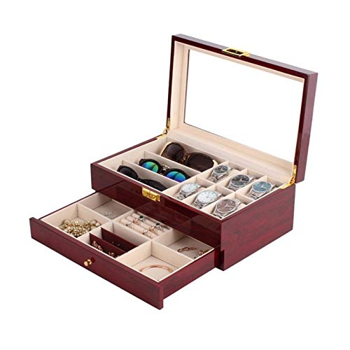 Storage Drawer for Watches and Jewelry Double-layer watch glasses jewelry box Drawer Case Organizer Showcase with Glass Lid 2-Tier Wooden Jewelry Case Men's(Red wood grain varnish) Luxury Storage Case