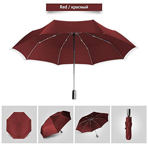 Sonnenschirm Regenschirm Qualität Big 120Cm Faltschirm Männer Regen Frau Golf Business Regenschirm Automatische Winddichte Regenschirme Reise Sonnenschirm Rot
