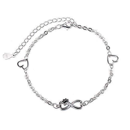 Collares Mujer Plata de Ley Love Heart perro cachorro Paw Infinito pulsera para las mujeres Joyería