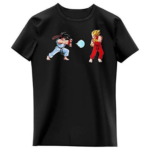T-shirt Enfant Fille Noir parodie Dragon Ball Z - Street Fighter - Ryu, Ken Sauce Sangoku et Vegeta - Kamehamehadoken !!! (T-shirt enfant de qualité premium de taille 6 ans - imprimé en France)