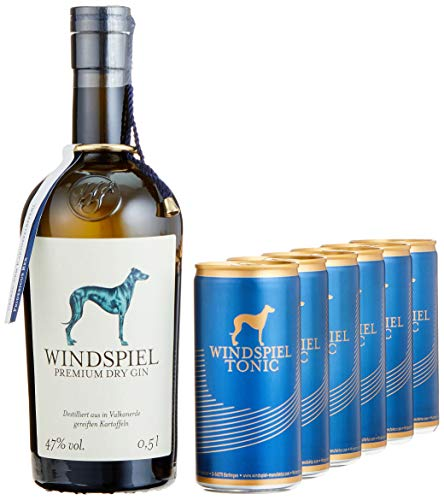 Windspiel Genusspaket London Dry Gin 47% vol. (1 x 0,5L) & Windspiel Tonic Water Dosen (6 x 200ml) - International ausgezeichneter London Dry Gin & Tonic Water Geschenkset