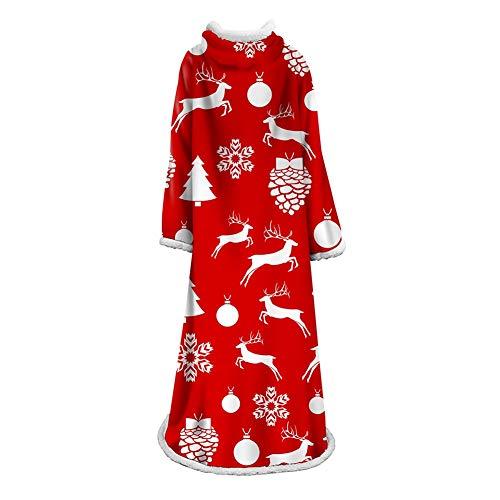 FUFU Manta de terciopelo suave con mangas, acogedora, de Sherpa Wearable, para el sofá o la televisión, para viajes, 150 x 170 cm, para todas las estaciones (color: #1)