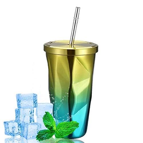 iClosam Taza de viaje de acero inoxidable de 500 ml con pajita y tapa a prueba de fugas, taza de café reutilizable aislada al vacío, taza para bebidas frías o calientes