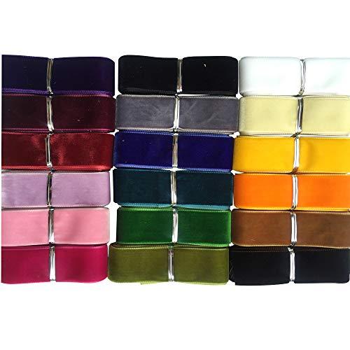 Chenkou Craft 20YARDS 2,5 cm Samt Band Samtband insgesamt 20 Farben sortiert Viel Bulk 25mm