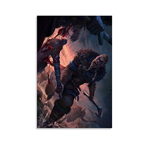 DRAGON VINES Assassin's Creed Valhalla Avor Viking Warrior Batalla puede colgar pinturas decoración de pared de dormitorio 30 x 45 cm