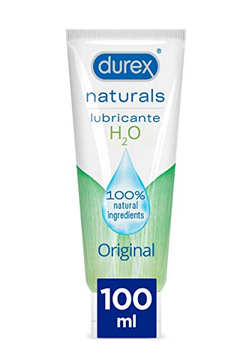 Durex Naturals H2O Lubricante Base Agua, 100% natural sin fragancia, colorantes ni agentes irritantes - 100 ml