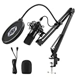 USB Streaming Podcast Microphone Kit,192KHZ/24BIT Plug & Play Cardioid Condenser PC Mic with Boom Arm, Metal Shock Mount, Pop Filter and Windscreen for YouTube, Gaming, Recording Music, Vocal (Black)