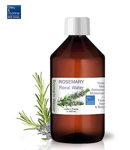 Rozemarijn Bloemen Water Hydrosol met sproeikap, Toner voor de vette huid, Droge huid, Oneffenheden, Jeukende huid, Haar- en lichaamstoner 1000 ml