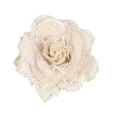 Homyl Cabezas Flor Rosa Cordón Arpilleras para Decoraciónes Rústicas Banquetes de Casamiento - Blanco, 10cm