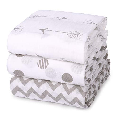 Momcozy Muslin Baby Swaddle Blankets Unisex Soft Swaddle Wrap Large Neutral Receiving Blanket for Boys and Girls 47 x 47 inch Soft Silky 70% Bamboo  30% Cotton 3 Pack