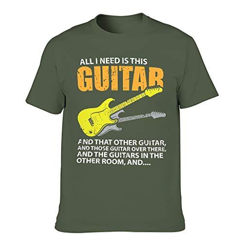 Camiseta de manga corta para hombre, con diseo de guitarra y texto en alemn 'All was ich brauch', ideal para disfraz verde militar S