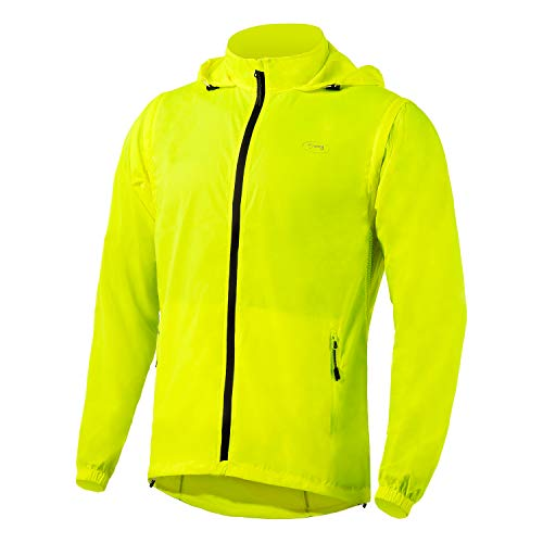 Men's Cycling Bike Jacket with Detachable Sleeves Windproof Running Vest Lightweight High Visibility Sports Windbreaker (Yellow, X-Large)