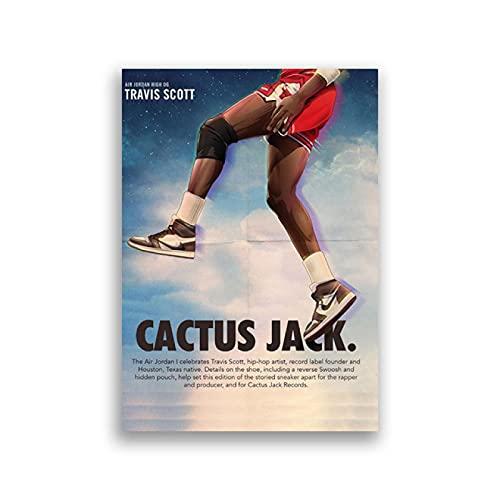 Kemeinuo Cuadros Modernos Travis Scott Collabor Zapatillas de Deporte Carteles e Impresiones Regalo para Novio niños habitación Pared Arte Imagen decoración 60x90cm