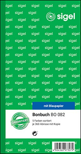 SIGEL BO082 Bonbücher 5er Pack á 360 Abrisse in gelb, rosa, weiß, grün, blau, 10,5 x 20 cm, 2x60 Blatt