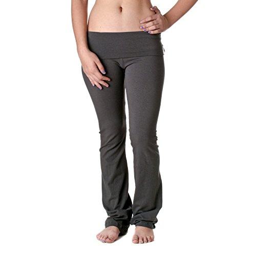 Slimming Foldover Bootleg Comfy Comfortable Yoga Pants (Small, Beige/Cream)