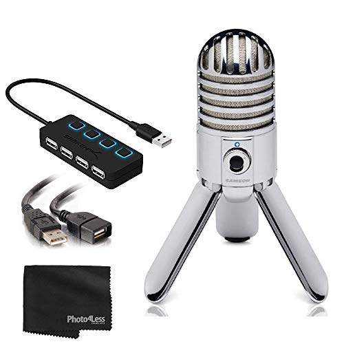 Samson Meteor Large Diaphragm USB Studio Microphone with Built-in Monitoring + USB 2.0 Hub with Individual LED Lit Power Switches + Extension Cable + Cleaning Cloth – Deluxe Bundle