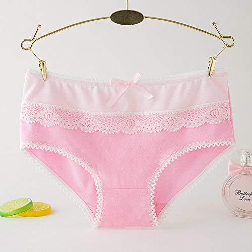 B/H Bragas del PeríOdo Menstrual AlgodóN,Bragas de Cintura Baja con Ribete de Encaje para Mujer 6 Piezas-Rosa,Braguitas Culotte Algodón para Mujer
