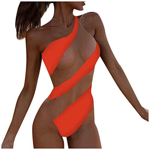 YANFANG Traje De BañO Una Pieza Playa Bikini Contraste Costura Malla Sexy A Rayas para Mujer,Ropa del Remiendo La Gasa Raya Atractiva Las Mujeres,BrasileñOs Trajes Tie Dye PatróN Floral