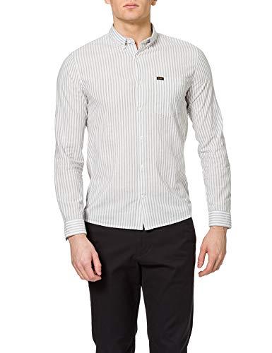 Lee Slim Button Down Camicia, Tela Bianca, XL Uomo