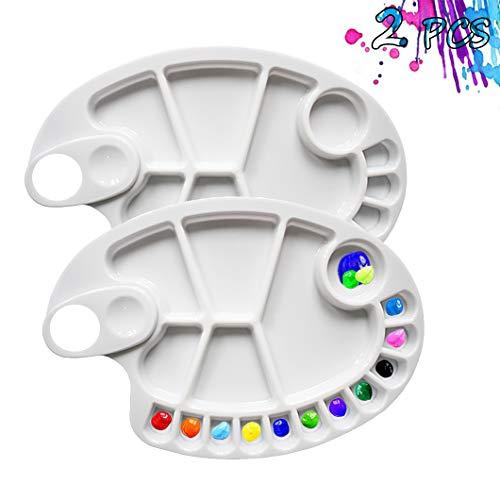 Non-Stick Paint Palette 2 PCS Artist Paint Mixing Tray Palette Oval Shaped Easy Clean Art Palette 17 Wells