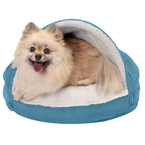 Furhaven Pet Dog Bed - Orthopedic Round Cuddle Nest Faux Sheepskin Snuggery Blanket Burrow Pet Bed with Removable Cover for Dogs and Cats, Blue, 18-Inch