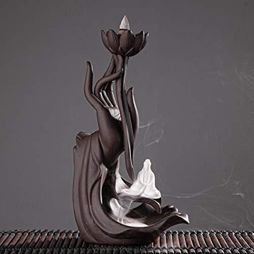 Lotus Räucherstäbchen Halter, Keramik Räucherstäbchenhalter mit 20PCs Rückfluss Räucherkegel, Rückfluss Räuchergefäß Räucherstäbchen Rückfluss