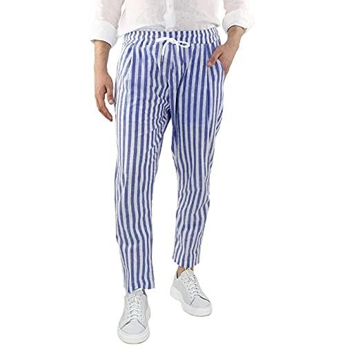GenericBrands Taurner Hombres Pantalón de Lino y Algodón con Cordones Pantalones Largos de Rayas a Cuadros Slim Fit Trousers
