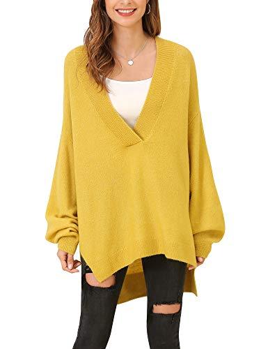 Woolen Bloom Pull Femme Col V Grande Taille Ample Pullover Asymétrique Ourlet Oversized Hauts Manches Longues Chandail Sexy Mode, Jaune, L ( EUR 44-46 )