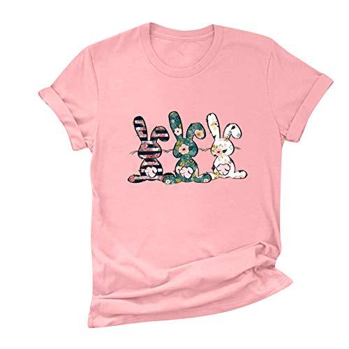 Janly Clearance Sale Blusa para mujer, cuello redondo, estampado de conejo, de Pascua, de manga corta, casual, suelta, con descuentos para el da de San Patricio (rosa-L)