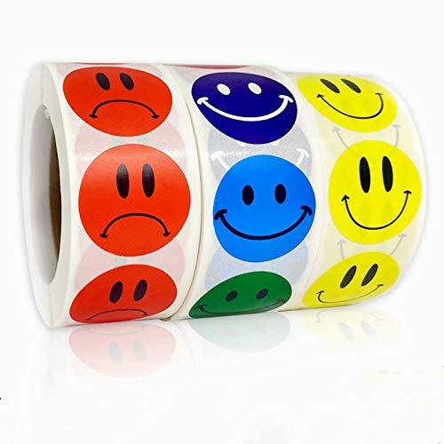 PMSMT Pegatina de Cara Sonriente 500 Piezas/Rollo para niños Pegatina de recompensa Pegatinas de Puntos Amarillos Pegatina de expresión de Cara de Sonrisa Feliz Juguetes para niños