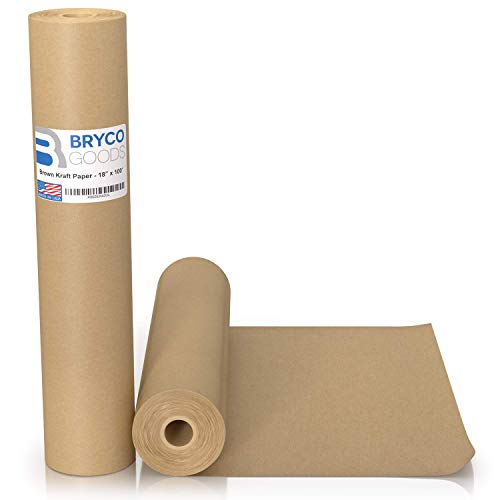 "Brown Kraft Paper Roll - 18"" x 1,200"" (100') Made in The USA - Ideal for Packing, Moving, Gift Wrapping, Postal, Shipping, Parcel, Wall Art, Crafts, Bulletin Boards, Floor Covering, Table Runner"