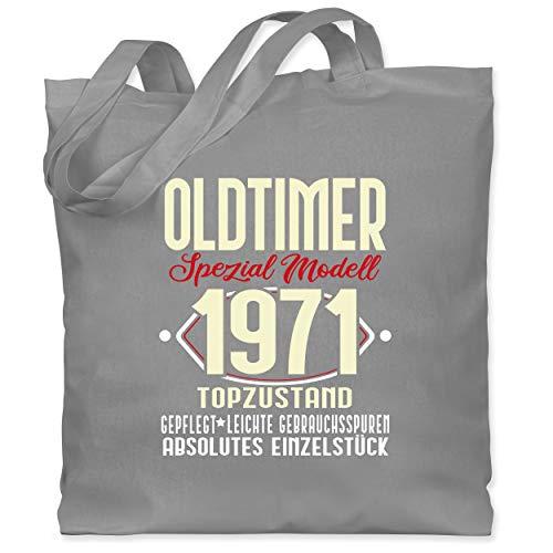 Shirtracer Geburtstag - Oldtimer Spezial Modell 1971-50. Geburtstag - Unisize - Hellgrau - stoffbeutel 50 geburtstag - WM101 - Stoffbeutel aus Baumwolle Jutebeutel lange Henkel