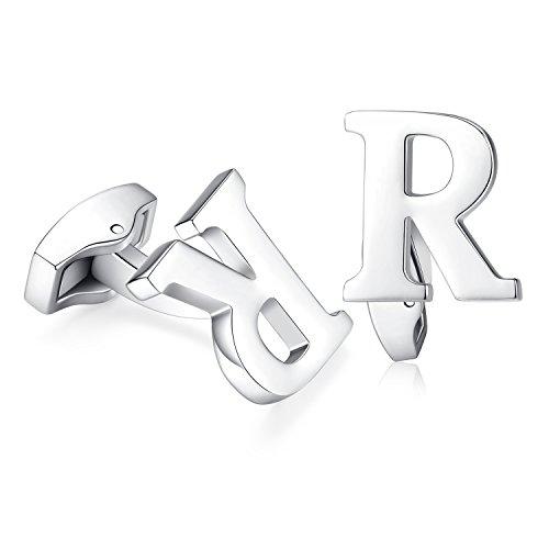 Hanana inicial alfabeto letra Gemelos para hombres camisa, Plata Acero Inoxidable, ideal para negocio boda regalo de Navidad (R)