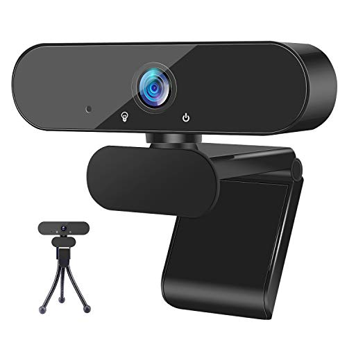 1080P Webcam with Microphone and Tripod Stand, ZEALINNO HD Laptop Plug and Play USB Webcam Streaming Computer Web Camera with 110-Degree Widescreen for ZOOM Video Calling Recording Conferencing Gaming