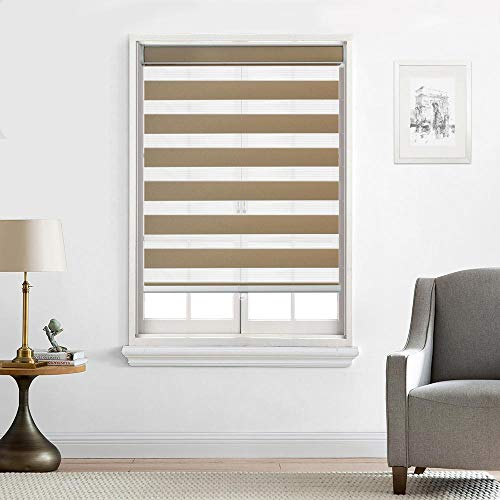 Everyday Celebration Customized Cordless Zebra Shades, Free-Stop Light Filtering Zebra Roller Blinds for Bedroom/Living Room/Office (34' W x 72' L, Taupe)