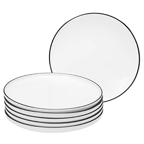 BonNoces 10 Inch Porcelain Dinner Plate, Elegant White with Black Edges Design, Classic Round Serving Plate Set for Steak, Pasta, and Salad, Set of 6