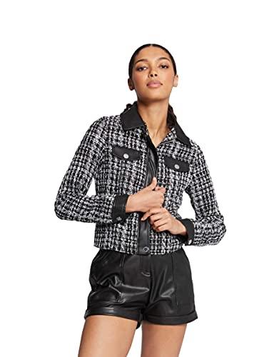 Morgan Veste Tweed VCLOE Blazer Casual, Noir, T38 para Mujer