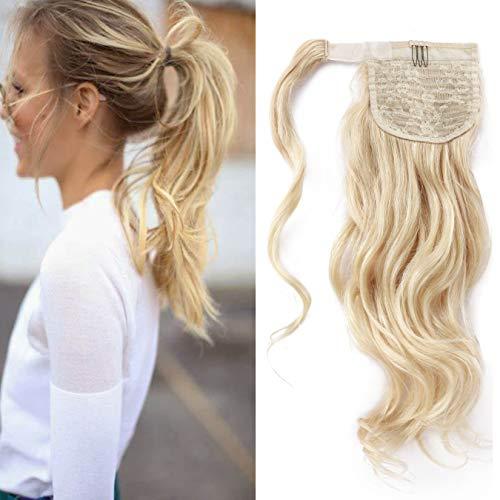 18 (45cm) SEGO Coleta Potiza Pelo Natural Rizado Extensiones de Cabello Humano Clip [#60 Rubio Platino] Cola Ondulada Remy Human Hair Ponytail (90g)