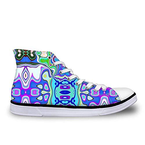 Blue Designs Lace Up Women Girls Hi Tops Canvas Shoes Flat Plimsolls Light Pumps Blue+Purple UK 5