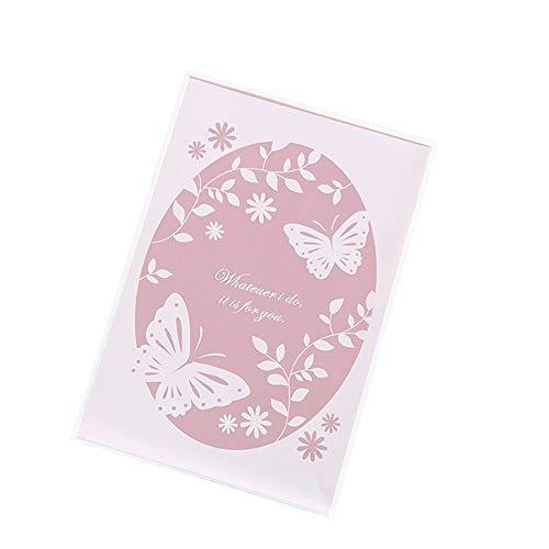 MoGist Lot de 100 sachets autocollants en plastique OPP - Motifs papillons et cœurs roses