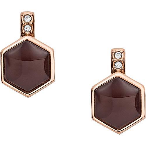 Fossil Damen Ohrringe Hexagon Rose Gold-Tone Stainless Steel