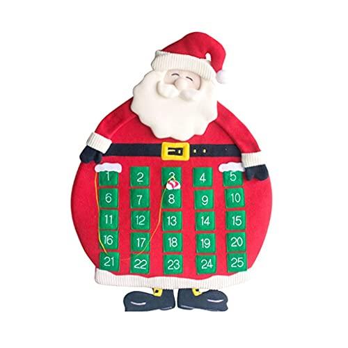 JJH Calendario de Adviento 25 días, Calendario de Cuenta Regresiva de Navidad 2021, calendarios de Pared Reutilizables de Papá Noel, Rojo, habitación de niños, Oficina, Decoraciones navideñas