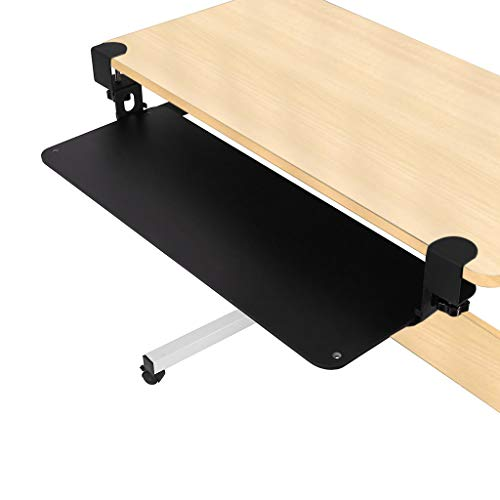 Leadmall Adjustable Keyboard Tray, Ergonomic Design Standard Under Desk Platform Clamp-On Retractable Large Space Track, for Desks Up (64x23.5cm/25.2x9.3inch)