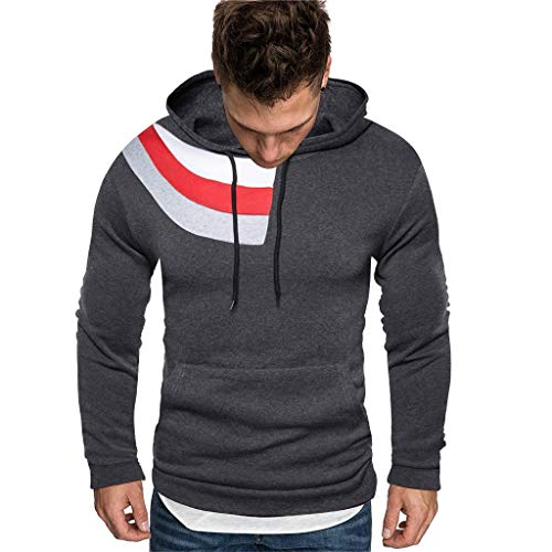 Purchase Men Winter Hoodies Slim Fit Casual Fashion Printed Patchwork Long Sleeve Hooded Sweatershir...