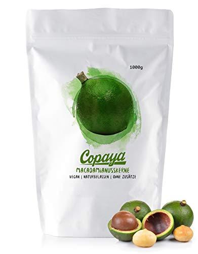 Copaya Macadamianüsse, Schalenlose ganze rohe Macadamia Kerne, Ungeröstet & Ungesalzen in Rohkostqualität 1000g (1kg)
