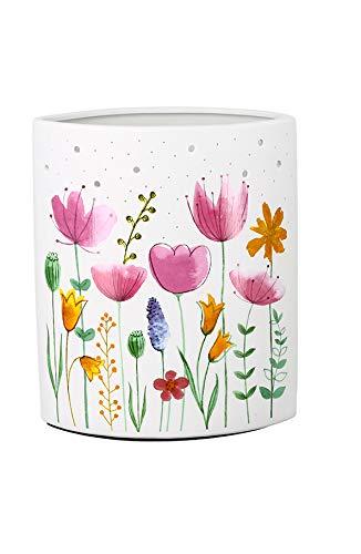 GILDE kleine Lampe - Stehlampe - aus Porzellan - mit Blume - Höhe 28 cm